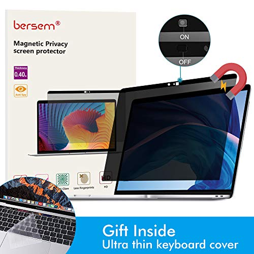 BERSEM MacBook Pro 13 Magnetic Privacy Screen Protector for 13 inch 2016/2019 and MacBook Air 13 inch 2018 Anti Glare Easy on/Off with Webcam Cover (Model : A1706; A1708; A1989; A1932)