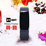 Fitness Tracker Christmas Version - AUPALLA 21BP Activity Tracker Support Blood Pressure Measure Heart Rate Monitor Menstrual Cycle Monitor Sleep Monitor Pedometer Stopwatch Calories Track GPS (Black)