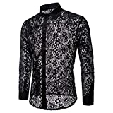 iLXHD Autumn Men's Casual Hollow Long Sleeve Dress Shirts Top Blouse