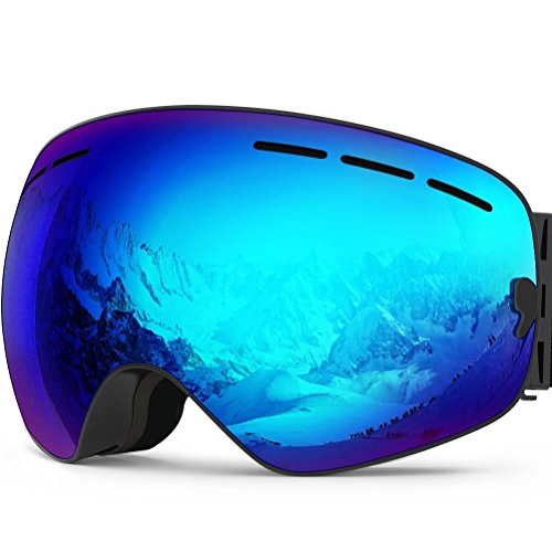 Zionor X Ski Snowboard Snow Goggles OTG Design for Men Women with Spherical Detachable Lens UV Protection Anti-Fog (VLT 16% Black Frame Polarized Blue Lens)