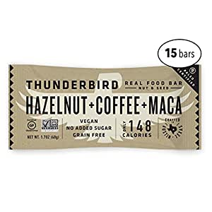 Thunderbird Paleo and Vegan Real Food Energy Bars - Hazelnut Coffee Maca - Box of 15 - No Added Sugar, Grain and Gluten Free, Non-GMO