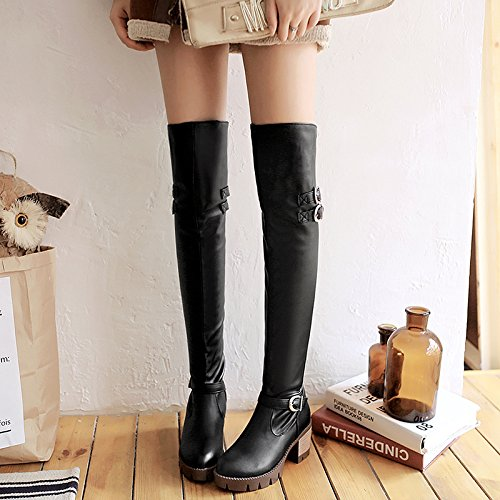 Carolbar Mujeres Pull-on Multi Hebilla Tacón Medio Retro Tall Riding Botas Negro