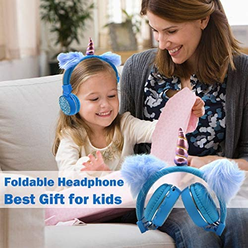 Bluetooth 5.0 Headphones with Fluffy Cat Ears for Kids, Kids Headband Earphone Foldable Headset Rechargeable Support TF Card, FM, Aux in (Pink)