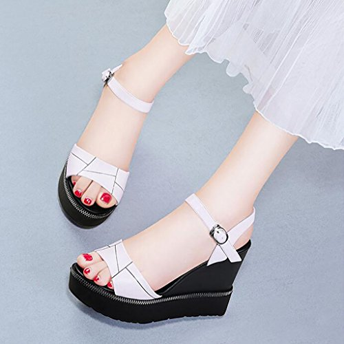 Korean Sandals Thick shoes Size cloth soled Wedges mouth B heeled Rome Flat Fashion shoes Sandals High Fish Loose B 37 sandals Women Summer ladies Color vZzqd