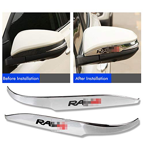 Easy Eagle 2pcs ABS Chrome Rearview Side Mirror Cover Trim Strip Emblems Fit For Toyota RAV4 2013 2014 2015 2016 2017 2018