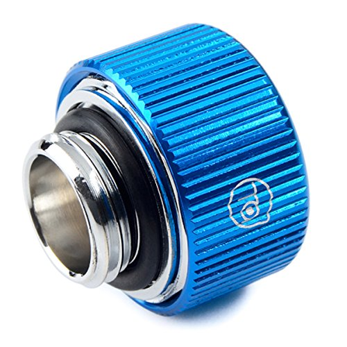 """Bitspower Touchaqua G1/4"""" Compression Fitting for 3/8"""" ID, 5/8"""" OD Soft Tubing, Blue, 4-Pack"""