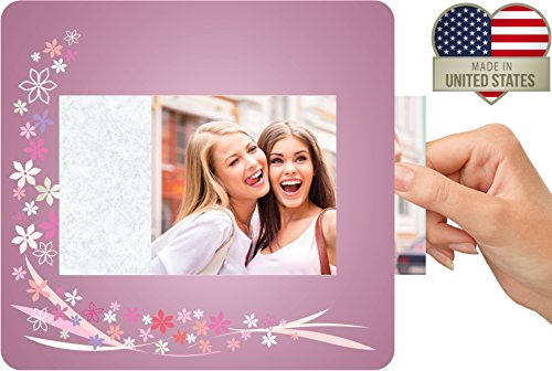 (Lifeway Design Custom Insert Photo Mouse Pad, Personalized Picture Frame Mousepad, Holds Customizable 4x6 Photo Insert, Made in USA, Premium Quality, Idea, 7.5x8 inch Pad (Flowers))