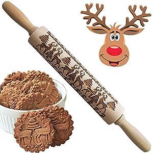 REYOK Mattarello Natalizio, Rolling Pin per Biscotti e Pizza Utensile da Cucina in Rilievo di Legno Inciso a Forma di Mattarello Inciso di Natale 8 spesavip