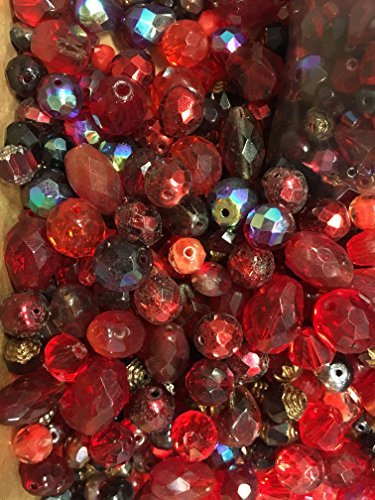 mixed Red Czech Glass Beads, Faceted all -