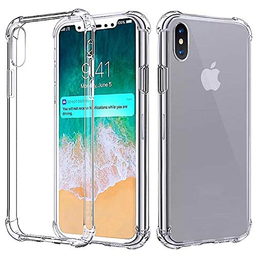 Phone Case for iPhone X XS Cases Gold Silver and Space Grey | Clear or Transparent | TPU Defensive Cover Skin | Anti-Scratch Protective Cover Case | Promo Code Below (Case Clear Red Skin Phone)