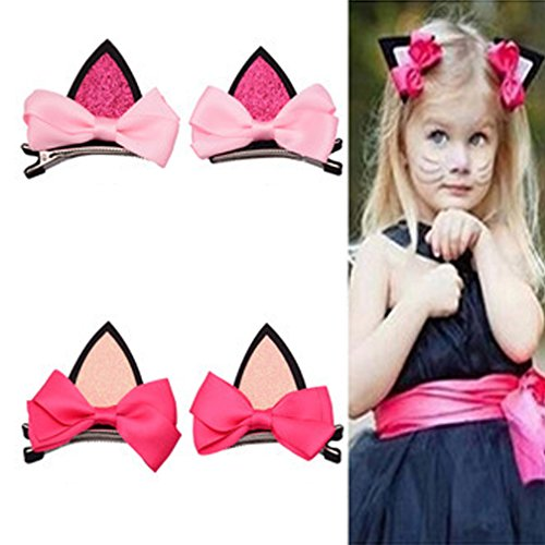 (Finecase Baby Girl's Kitty Cat Ears Hairpin Hair Bow Clips, Kids Hairpin Party Supplies Birthday gift for Girls)