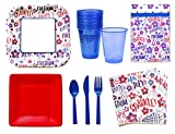 July 4th Party Supplies - Patriotic Party Supplies Set - 4th of July Party Supplies -14 Guests - Plates Napkins Cups Cutlery and Table Cover