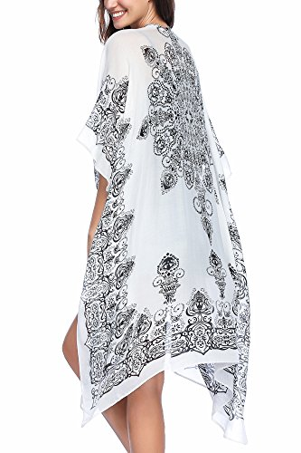 Caftan Rose - Moss Rose Women's Beach Cover up Swimsuit Kimono Cardigan with Bohemian Floral Print (Color17)