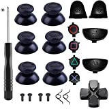 Yosikr 3 Pairs Thumbsticks Joystick for PlayStation 4 PS4 Controller Gamepad with Cross Screwdriver + L2 R2 L1 R1 Trigger Replacement Parts + ABXY Bullet Buttons + D-pad + Small spring (Black)
