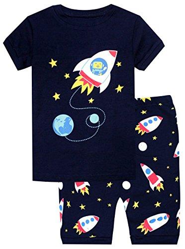 fc084373e8 Elowel Boys Shorts Space Rocket 2 Piece Pajamas Set 100% Cotton (Size  Toddler-