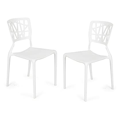 Adeco Polypropylene Hard Plastic Dining Chairs, Fun Living Dining Room Set  Of 2, White