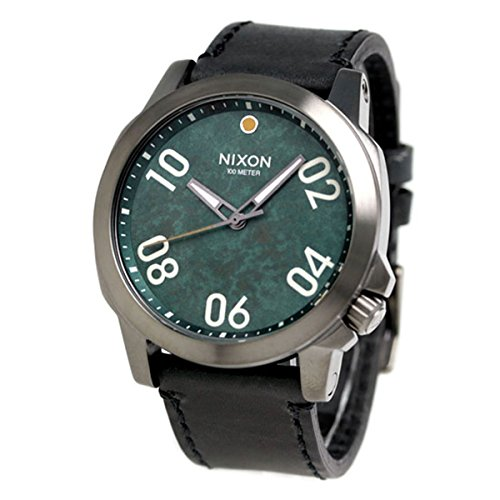 Nixon Unisex Ranger 45 Leather Gunmetal/Green Oxide Watch
