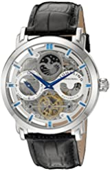Stuhrling Original Men's 371.01 Legacy  Automatic Self Wind Black Genuine Leather Strap Watch