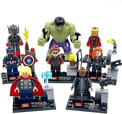8Pcs Avenger Black Widow Nick Fury Thor Hawkeye Hulk Lego Minifigure Toys Set