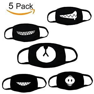 [Top Quality] Unisex Black Cute Bear Mask-Fomei Exo Anti Dust Face Mouth Black Mask for Man and Woman to Go Outside, Made Of 100% Cotton, With High Quality Tailors and Bigger Clear Cute Print (5 Pack)