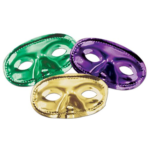 Beistle 50144-GGP Metallic Half Masks, 24 Per Package (Painted Halloween Masks)