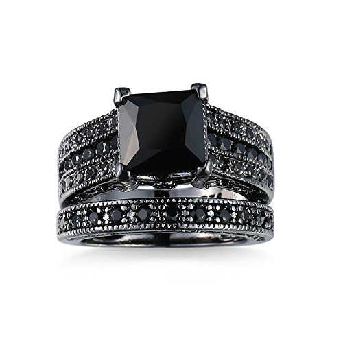 (Peize 2-in-1 Womens Vintage Black Diamond Silver Engagement Wedding Band Ring Set )