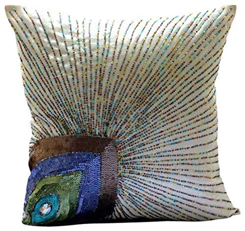 - Ivory Accent Pillows, Peacock Feather Sequins and Beaded Pillows Cover, 16