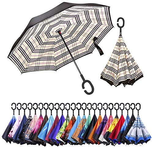 AmaGo Windproof Inverted Umbrella - UV Protection Double Layer Reverse Folding Long Self Standing Umbrella with C-Shape Handle for Car Rain Outdoor Travel(Yellow Plaid)