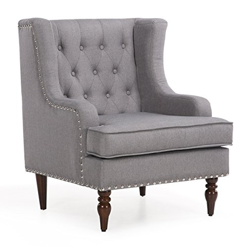 Belleze Wingback Chair with Arms Classic Button Tufted Traditional Ergonomic Cushioned Club Seat Nailhead Trim, Gray - Classic Nailhead Trim
