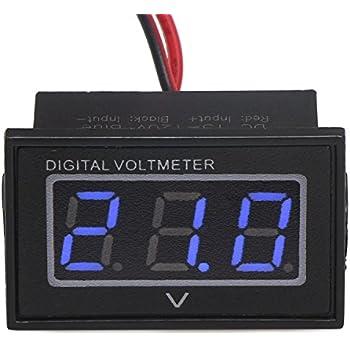 """DROK 0.56"""" Waterproof DC 15-120V Digital Voltmeter Voltage Measurement Gauge Blue/Green LED Panel 24V Volt Meters (Blue)"""
