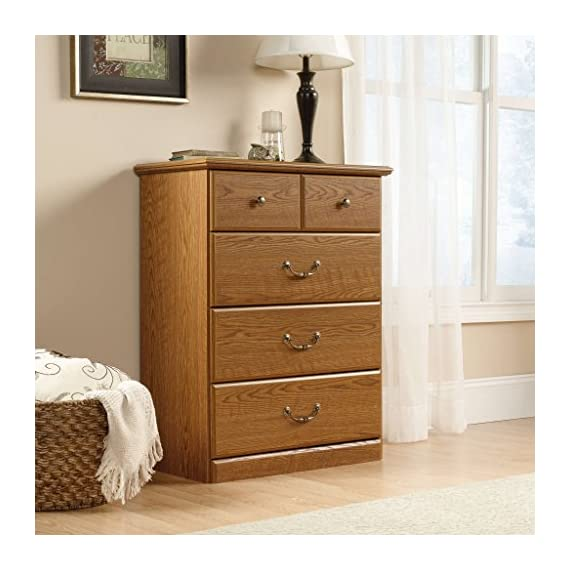 Sauder Orchard Hills 4-Drawer Chest, Carolina Oak finish -  Drawers feature metal runners and safety stops Top drawer features a divider Carolina Oak finish - dressers-bedroom-furniture, bedroom-furniture, bedroom - 51SjvLZonjL. SS570  -
