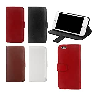 New Fashion Flip Phone Case for iPhone 6 with PU Leather Wallet Card Holder Stand Folded Protective Cover --- Color:Black