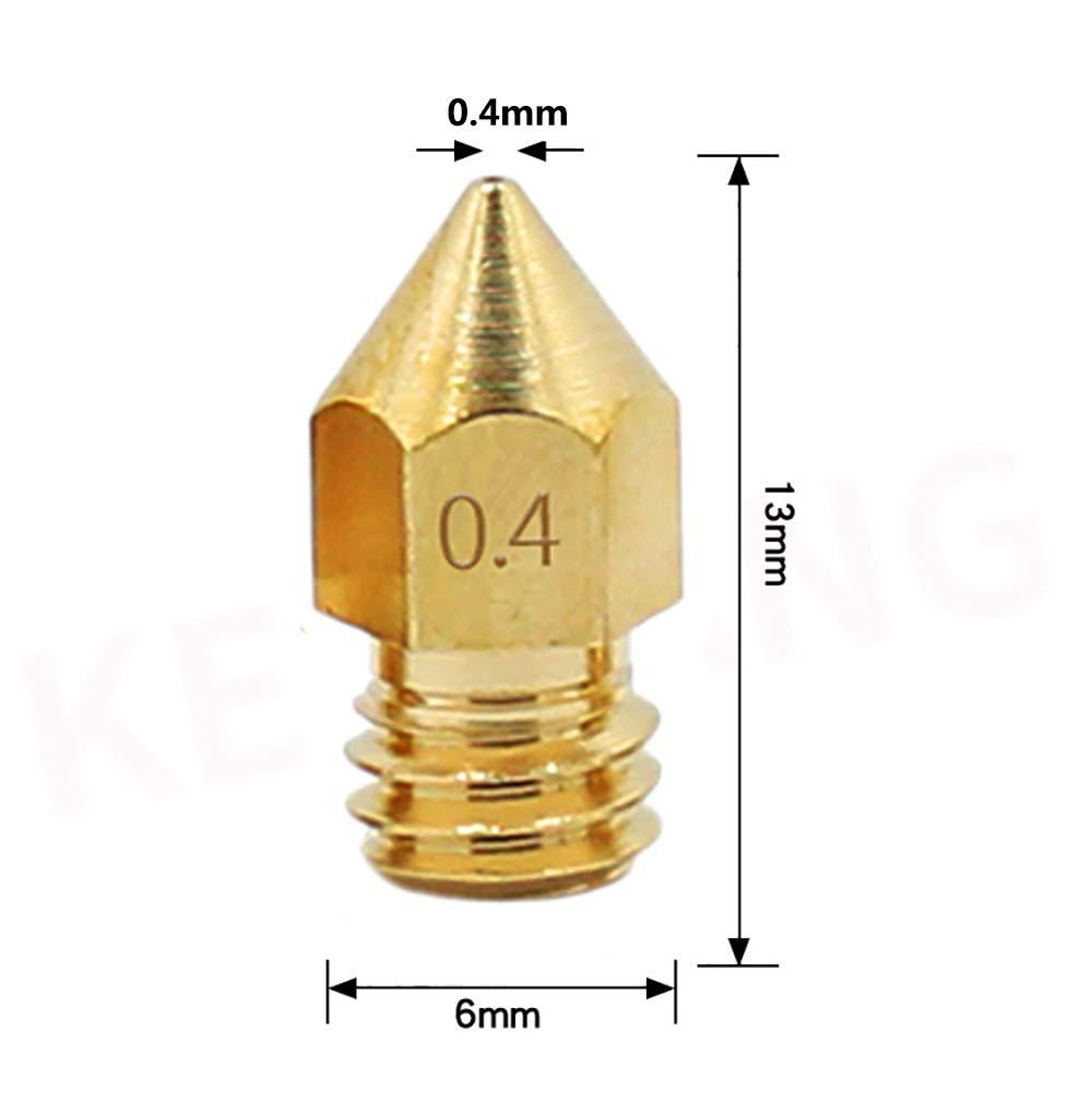 10 St/ück D/üsen f/ür 3D-Drucker 0,4 mm Messing MK8 Extruder Messing D/üse Druckkopf f/ür 3D-Drucker Alfawise U20//U30 MK8 MakerBot RepRap Creality CR-10