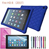 2017 Amazon Fire HD 8 Case Silicone, EpicGadget(TM) Slim Anti-Slip Soft Rubber Silicone Gel Case Cover For (7th Generation)Fire HD 8, 8 HD Display Tablet +Fire HD 8 Clear Screen Protector (Dark Blue)