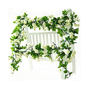 Li Hua Cat Rose Garland Artificial Rose Vine with Green Leaves 63 Inch Pack of 3 Flower Garland For Home Wedding Decoration (white) 6