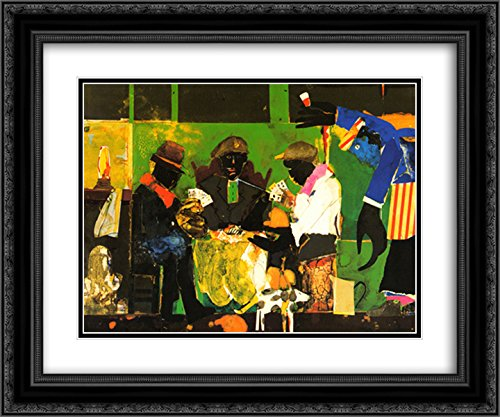 Card Players, 1982 2X Matted 15x18 Black Ornate Framed Art Print by Romare Bearden