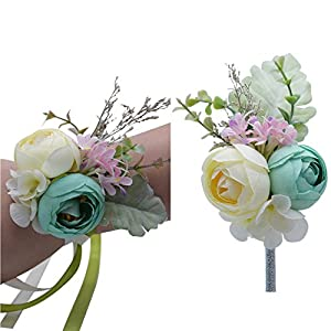 Florashop Peony Bud Wrist Corsage & boutonniere Wedding Bridal Bridesmaid Wrist Corsage Wristband and Men's Groom Bridegroom Boutonniere for Wedding Prom Party Homecoming 82