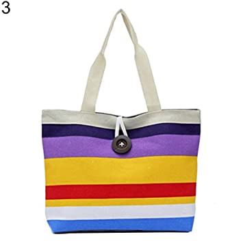 FEIDAj Shopping Pouch Bag Lady Fashion Striped Button Zippered Shopping  Shoulder Handbag Canvas Tote Bag - Purple  Amazon.co.uk  Kitchen   Home fa12bcbd56e93