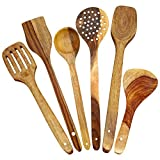 ITOS365 Handmade Wooden Spoons for Cooking and Serving Kitchen Tools, Set of 6