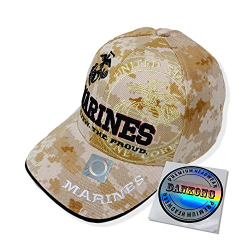 - DANKONG U.S. Marine Hat -Official Licensed US Military 3D Embroidered Baseball Cap with Size Adjustable Hoop and Loop Closure for Men and Women - Marines - The Few. The Proud - Sand Camouflage