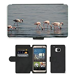 Super Stella Cell Phone Card Slot PU Leather Wallet Case // M00104324 Flamingos Birds Avian Long-Necked // HTC One M9
