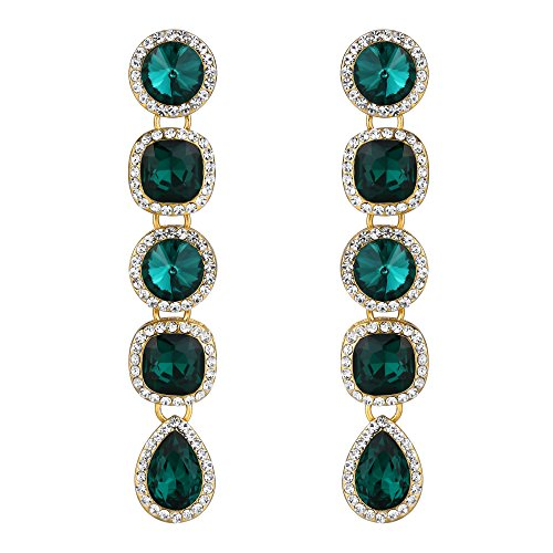 BriLove Women's Wedding Bridal Crystal Art Deco Mix-Shape Chandelier Dangle Earrings Emerald Color Silver-Tone