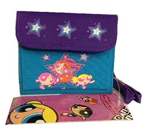 Powerpuff Girls Wallet Small Purse with Strap Purple and Blue