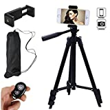 Hi-tec 42 Inch Aluminum Portable Phone Tripod for Iphone with Holder Mount + Bluetooth Remote...