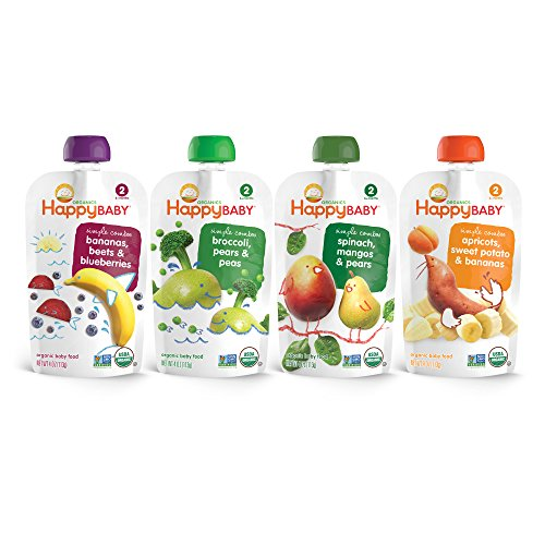 Happy Baby Organic Stage 2 Baby Food, Simple Combos Variety Pack, 4 Ounce, (Pack of 16)