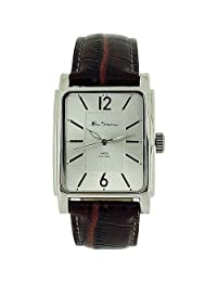 Ben Sherman Gents Textured Silver Dial Burgundy Croc Effect Strap Watch BS037