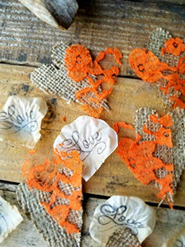 Burlap and Lace Wedding Decorations, Table Confetti ()