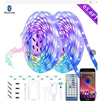 Bluetooth LED Strip Lights 20m - Music Sync LED Light Strip Controlled by Smart Phone APP - LED Stripe Lights 65.6ft 600LEDs RGB Strip Lights Full Kit with UL Listed Adapter Remote Controller