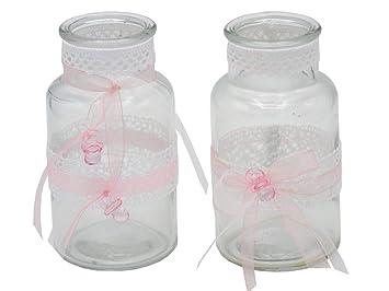 Zauberdeko 2 Vasen Tischdeko Taufe Rosa Vintage Spitze Baby Madchen