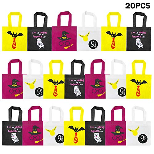 20 Packs Candy Bags Non-woven Bags for Harry Potter Party Decoration Tote Gift Bags Reusable, Platform 9 And 3/4 King's Cross Station, Harry Potter Party Supplies Decoration Candy Goodie Bags for Magical Wizard School Party Favors